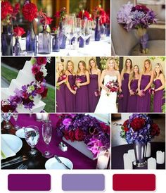 purple and red wedding...something like this to add pop. you dont have to have a lot of red to do it though. and notice the two purple shades?? http://@Crystal Chou Chou Parra