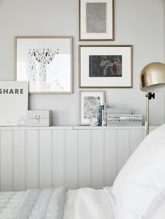 Since so much of their interior is based on a white, black or gray palette, metallics are often used to lift it out of the monochrome mood. Choose a table or floor lamp in copper or brass, place it on either side of the bed and watch how it instantly elevates the bedroom. Not only is it pleasing to the eye, but it's also a handy reading spot—Sunday mornings in bed will never be the same.