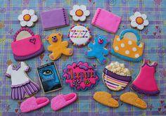 Sleep Over Cookies Girl Sleepover, Sleepover Party, Pajama Party, Iced Cookies, Royal Icing Cookies, Cupcake Cookies, Sugar Cookies, Cupcakes, Royal Icing Decorations