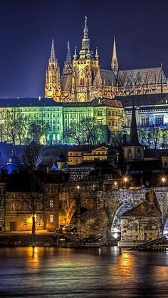 25 Wonderful Things to Do in Prague! The lovely night time skyline view of the Hradcany area of Prague Sit Places Around The World, Oh The Places You'll Go, Travel Around The World, Places To Travel, Places To Visit, Around The Worlds, Magic Places, Prague Czech Republic, Budapest
