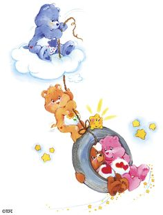Care Bears: Grumpy, Friend, Tenderheart and Love-a-Lot Bear on a Tire Swing