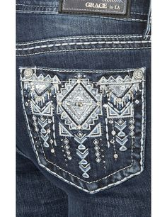 Grace in LA Women's Dark Wash with Silver Aztec Embroidery Open Pocket Boot Cut Jeans | Cavender's