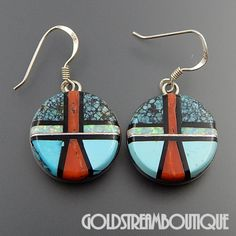 V. YAZZIE NAVAJO STERLING SILVER MULTI GEMSTONE MOSAIC INLAY ROUND HOOK EARRINGS