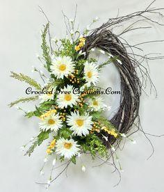 Gerber Daisy Oval Birch Wreath