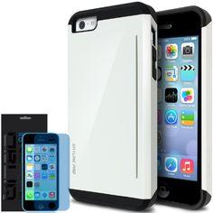 [Cotton White] Obliq iPhone 5C Case SkyLine Pro w/ HD Screen Protector - Premium Slim Fit Dual Layer Hard Case - Verizon, AT