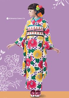 Kimono Hearts Retro Fashion Line Yukata Kimono, Silk Kimono, Kimono Style, Floral Kimono, Traditional Kimono, Traditional Dresses, Japanese Outfits, Japanese Fashion, Japanese Lady