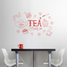 Tea Time Doodle - Wall Decals Stickers Graphics from Dali Decals. Just bought one for my new kitchen! <3