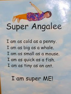 """Super Hero poems with """"Quick as a Cricket"""" and a song from this site. (I wish the whole school would do this! Would be great for Carnival Night!)"""