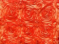 Orange Satin 3D Roses Rosette Fabric Sold By The Yard by smallsproutsbaby on Etsy