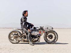 Shinya Kimura with his self-built motorcycle, El Mirafe Landspeed racing, May 2012