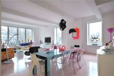 Apartment, Wonderful Dining Table With Colorful Modern Chair: Charming Vivacious Apartment with Colorful Interior