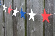 handmade Red, White and Blue Large Stars Garland, all weather banner by thePathLessTraveled