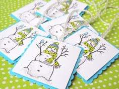 Hand-stamped snowman gift tags