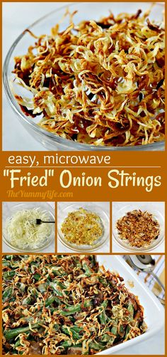 These easy, crispy onions are a snap to make in the microwave. They're a tasty, healthier option for topping green bean casserole. Try them sprinkled over roasted veggies or on sandwiches for some added crunch and flavor. Baked Onions, Crispy Onions, Vidalia Onions, Roasted Vegetables, Veggies, Over Roasted Potatoes, Onion Strings, Onion Recipes, Roast Recipes