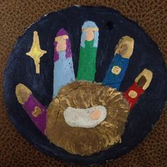 Salt dough ornament--Nativity Scene!  I use this recipe for my ornaments, but bake them at 275* for longer--how long depends upon how thick you make them. The lower temp prevents them from bubbling or warping! http://allrecipes.com/recipe/dough-ornament-recipe/