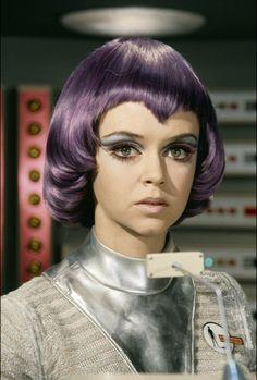 UFO series: Gabrielle Drake stunning portrait in purple wig SHADO uniform Ufo Tv Series, Purple Wig, Sci Fi Tv Shows, Space Girl, Space Age, Classic Sci Fi, Sci Fi Movies, Sci Fi Books, Drake