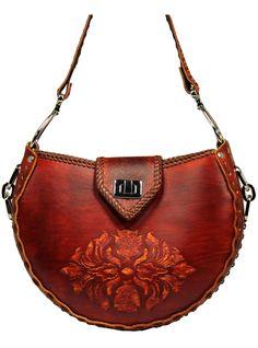 Tooled Leather Handbag  Keystone