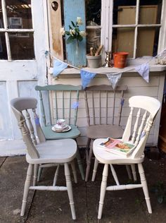 Gorgeous mismatched country cottage farmhouse style vintage chairs £212.00