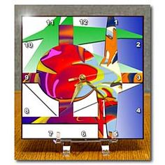 White, Pink, Green, Orange and Blue Shaped and Beveled and Swirled to Make Modern Piece of Art Desk Clock