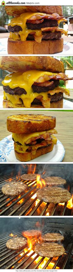 "The Monster Baconator Burger! 5.00 stars, 3 reviews. ""Warning: Upon consumption of this burger it may induce drowsiness or even a coma in the elderly or very young. If you experience any of these conditions you should not drive or operate heavy machinery. In fact you should just take the rest of the day off from work and get a note from your local Gill Master."" @allthecooks #recipe"