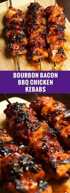 Bourbon Bacon BBQ Chicken Kebabs - Summer Grilling Recipes Juicy chicken breast covered in bacon paste, then smothered in BBQ sauce & grilled to perfection. Bourbon Bacon BBQ Chicken Kebabs are a crowd pleaser. Receta Bbq, Bbq Bacon, Bacon Food, Cooking Recipes, Healthy Recipes, Healthy Meals, Simple Recipes, Kitchen Recipes, Cooking Tips