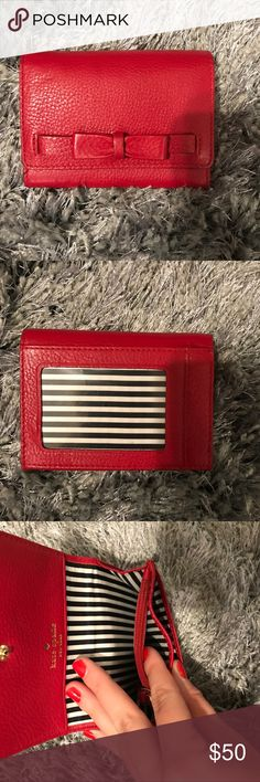Kate Spade Bow Card Wallet In great condition! Has key ring, zippered coin section, and multiple slots for credit cards/cash. Also has clear ID slot on back. kate spade Accessories Key & Card Holders