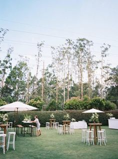 """Inside a green and white garden party wedding - """"We ended up only having 30 minutes of photos after the ceremony,"""" says the bride, recommending - Decoration Cocktail, Cocktail Party Decor, Cocktail Wedding Reception, Garden Party Wedding, Summer Wedding, Wedding White, Outdoor Cocktail Party, Wedding Lounge, Bali Wedding"""