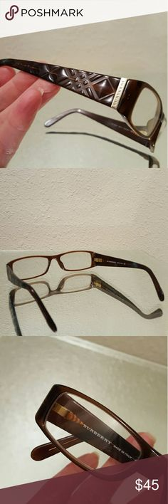 Burberry frames Brown diamond pattern relief frames with gold color accents and hinges, made in italy, contains perscription lenses, excellent condition. Burberry Accessories Glasses