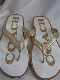 ... white & metallic gold leather signature Logo flip flop