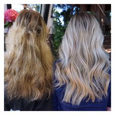 Before and after, from a fragile, damaged, yellow streaky blonde to a rooty/soft root icy platinum balayage. used olaplex to protect her fragile hair and restore it back to health. Messy Hairstyles, Pretty Hairstyles, Inspo Cheveux, Hair Fixing, Hair Heaven, Hair Color And Cut, Hair Game, Hair Repair, Light Hair