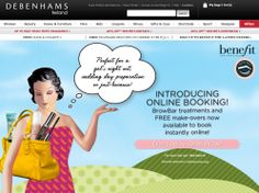 Online booking system - Would need to be integrated with Book4Time for House of Elemis. Would be even better if it allowed booking at spas & salons! http://www.debenhams.ie/webapp/wcs/stores/servlet/contentView?filepath=/DebenhamsIESite/Static/benefit_makeover.xml&storeId=10052&langId=-1