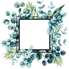 Square Card Template with Watercolor Eucalyptus Leaves and Place for Text Framed Wallpaper, Flower Background Wallpaper, Cute Wallpaper Backgrounds, Flower Backgrounds, Wallpapers, Marco Digital, Powerpoint Background Templates, Boarder Designs, Instagram Frame Template