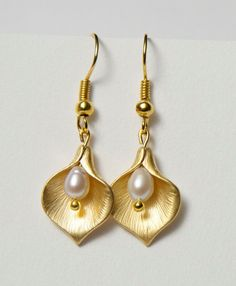 Gold Lily Earrings with Freshwater Pearls. Calla Lily