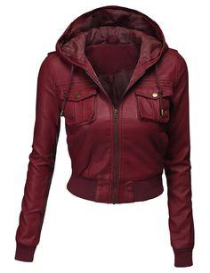Doublju Womens Hooded Cropped Faux Leather Moto Jacket. amazon.com
