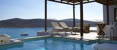 Domes of Elounda, Crete  Upgrade to a room with private pool and relax in the comfort of your terrace.  #Crete #SovereignTravel #Greece #Wanderlust