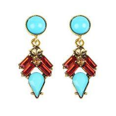 Vintage Rhinestone Geometric Drop Earrings