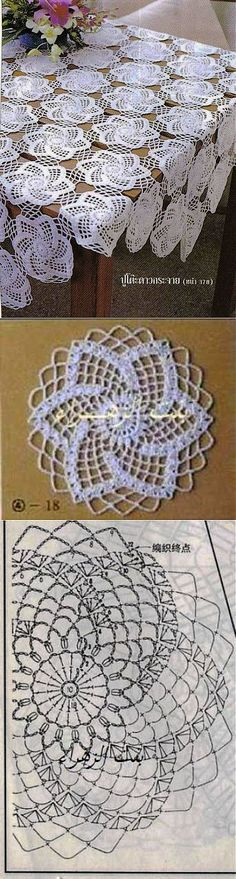 "Toalha de crochê com belo motivo [ ""Pretty design on cookies or top of cakes"", ""Tutorial for Crochet, Knitting."", ""Motif for tablecloth crochet pattern chart"" ] # # # # # # # # # Filet Crochet, Crochet Doily Diagram, Crochet Blocks, Crochet Doily Patterns, Crochet Chart, Crochet Squares, Thread Crochet, Irish Crochet, Crochet Designs"