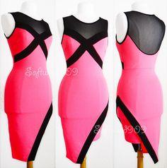 NEW Neon Pink Black Mesh Panel Asymmetric Hem SEXY Club Party HOT Bodycon Dress | Clothing, Shoes & Accessories, Women's Clothing, Dresses | eBay!