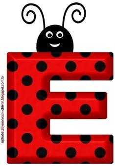 Ladybug Crafts, Ladybug Party, Fancy Letters, Banner Letters, Alphabet And Numbers, Monogram Alphabet, Festa Lady Bag, Alfabeto Animal, Alien Drawings