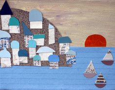 Little fishing village collage mixed media on by DeborahMcGeeArt, $24.00