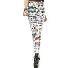 Ethnic Fashion, Teen Fashion, High Fashion, Womens Fashion, Crazy Leggings, Women's Leggings, Galaxy Leggings, Printed Leggings, Newspaper Printing