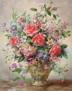 Marvelous Floral painting shabby cheque.