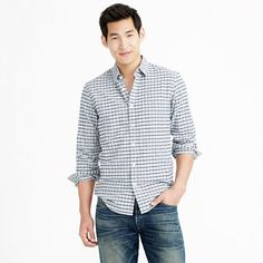 J.Crew - Vintage oxford shirt in heather pewter check