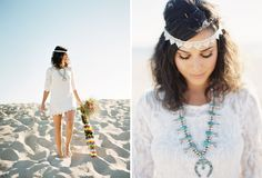 End of Summer Bohemian Shoot on the Beach  lace antlers wedding  Magnolia Event Design  Tenley Erin Young