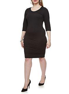 Plus Size Knit 3/4 Sleeve Midi Dress