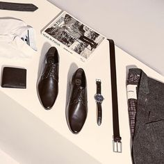 We call this our men's sharp-style starter kit! Tap link in bio to shop everything in this post. ✔️ Ft. Hugo Boss tie, Tommy Hilfiger shirt, Hugo Boss wallet, KG by Kurt Geiger shoes, Tommy Hilfiger watch, Hugo Boss belt, Ben Sherman blazer. #theiconic #menswear #getsmart #flatlay #flatlayapp