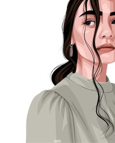 Vector Portrait, Beautiful Girl Drawing, Iphone Wallpaper Sky, Tumblr Art, Black Girl Art, Aesthetic Drawing, Diy Canvas Art, Cartoon Art Styles, Portrait Illustration
