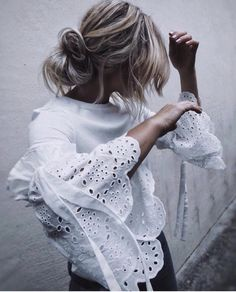 Round Neck Hollow Out Plain Bell Sleeve blouse for Work blouse for women work blouse for women chic blouse for women casual blouse for women summer Bell Sleeve Blouse, Bell Sleeves, Bell Sleeve Top, Look Fashion, Fashion Outfits, Blouse Styles, Lace Tops, Blouses For Women, Ideias Fashion