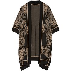 Anna Sui Arcadia intarsia wool-blend kimono, Black, Women's, Size:... ($260) ❤ liked on Polyvore featuring outerwear, jackets, cardigans, kimonos, coats, floral print kimono, print jacket, pattern jacket, flower print jacket and oversized jacket
