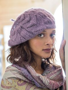 Free knitting pattern for Collier lace slouchy beret hat and more slouchy hat knitting patterns at http://intheloopknitting.com/slouchy-hat-knitting-patterns/